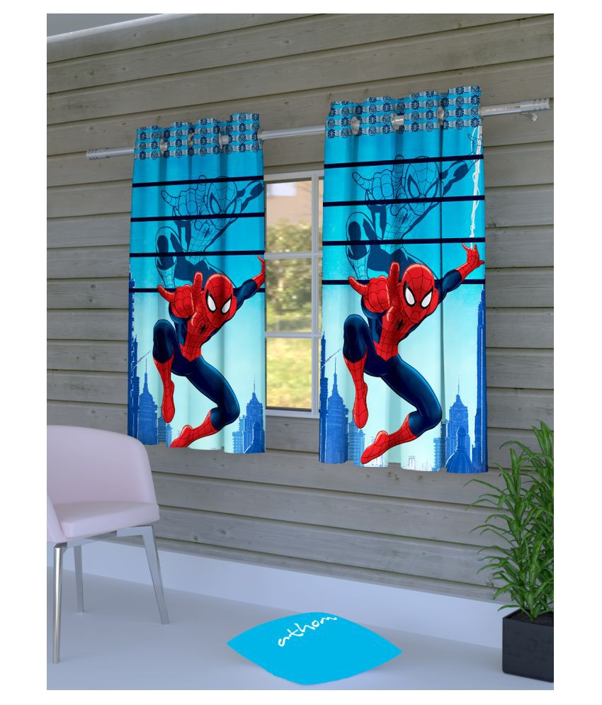 Marvel Set of 2 Window Semi-Transparent Eyelet Polyester Curtains Blue
