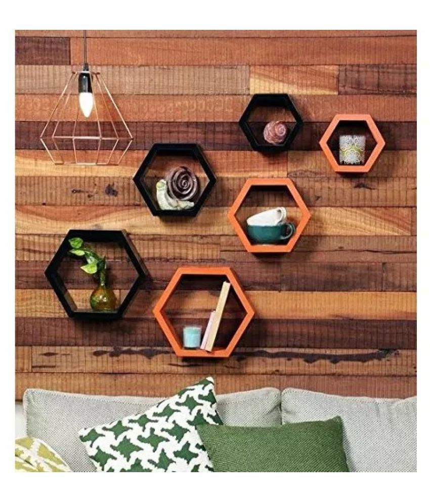 Onlineshoppee Fancy Set of 6 Hexagonal Shape MDF Wall Shelf Big Color- Black & Orange