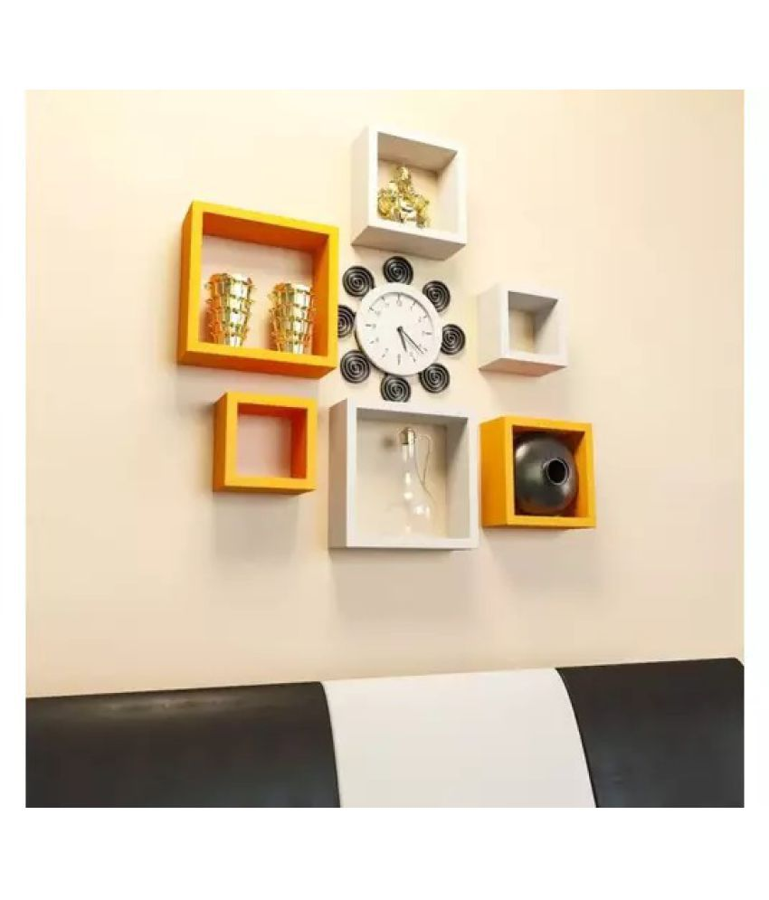 Onlineshoppee Square Nesting MDF Wall Shelf - Yellow & White