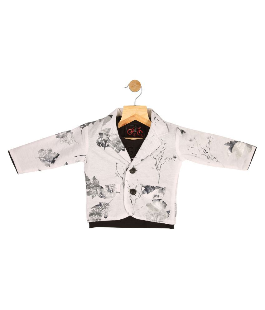 Gusto Baby Boy's White Cotton Blend Blazer with T-Shirt