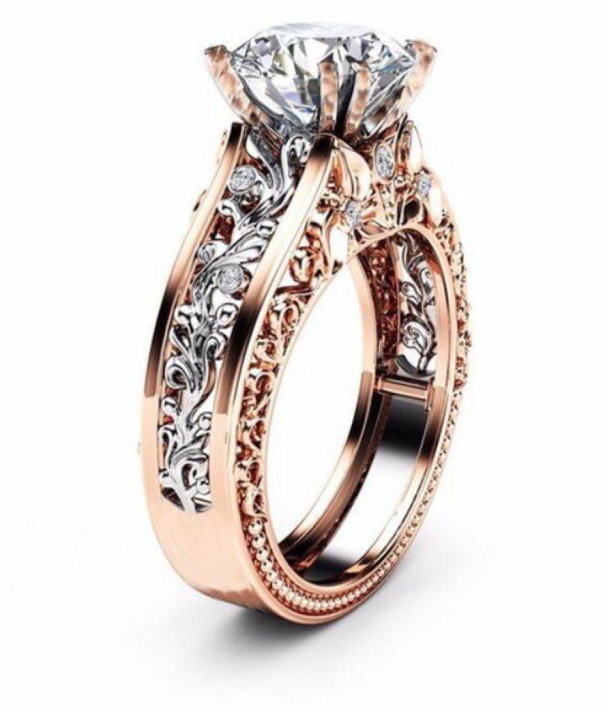 White Diamond Alloy Ring Fashion Jewellery