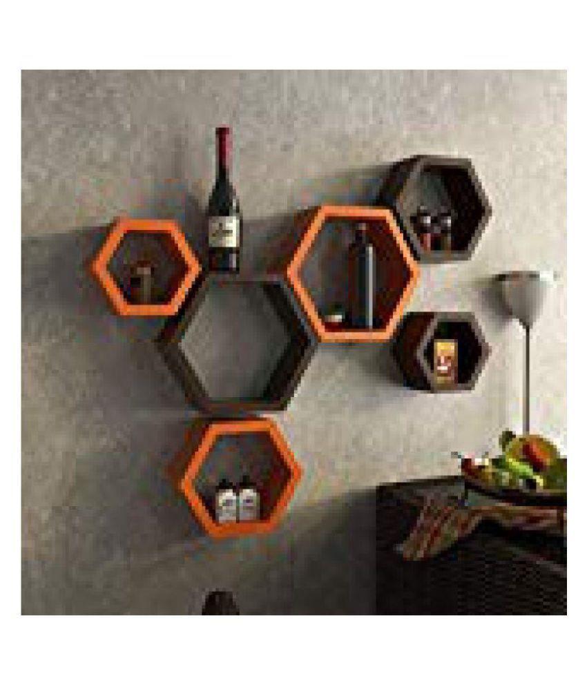 MartCrown Beautiful Wooden Wall Shelf Orange Brown