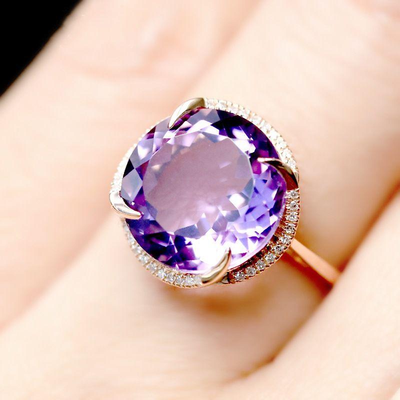 Purple Crystal Open Ring Fashion Jewellery
