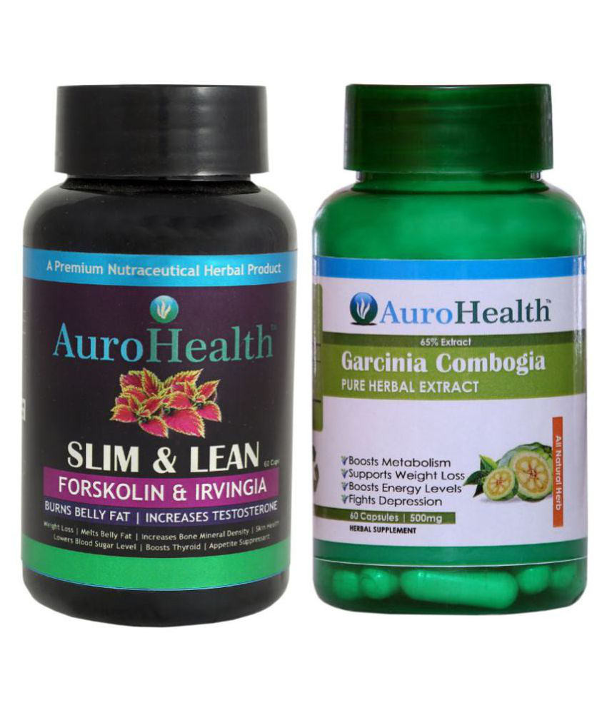 AuroHealth SUPER FAST FAT BURNER Forskolin +Garcinia Cambogia 65%Extract 120 gm Unflavoured Pack of 2