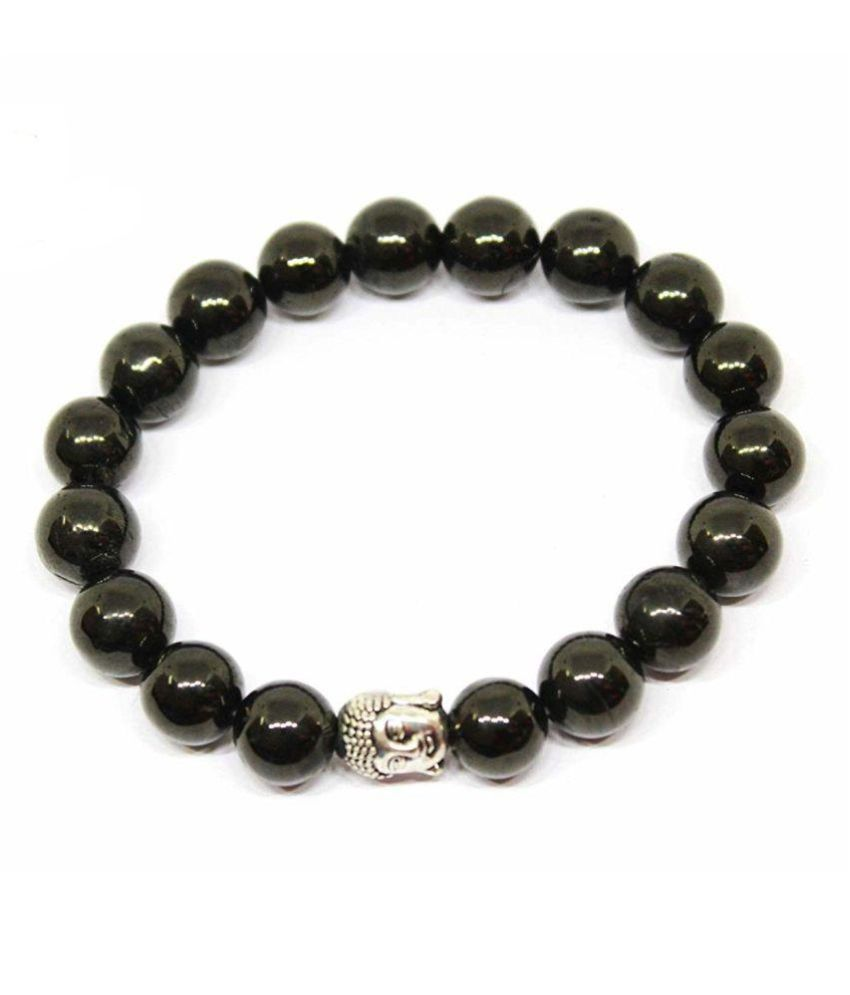 8mm Black Jet With Buddha Natural Agate Stone Barcelet