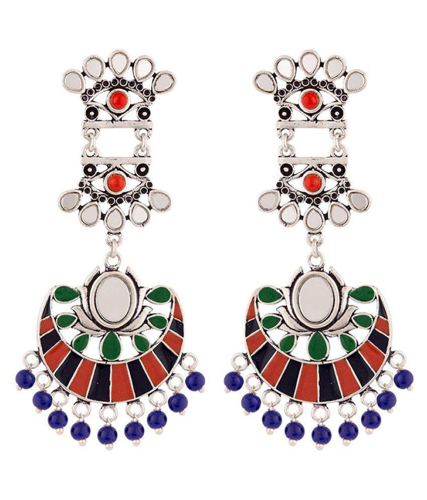 Voylla Kesar Enamel Details Drop Earrings
