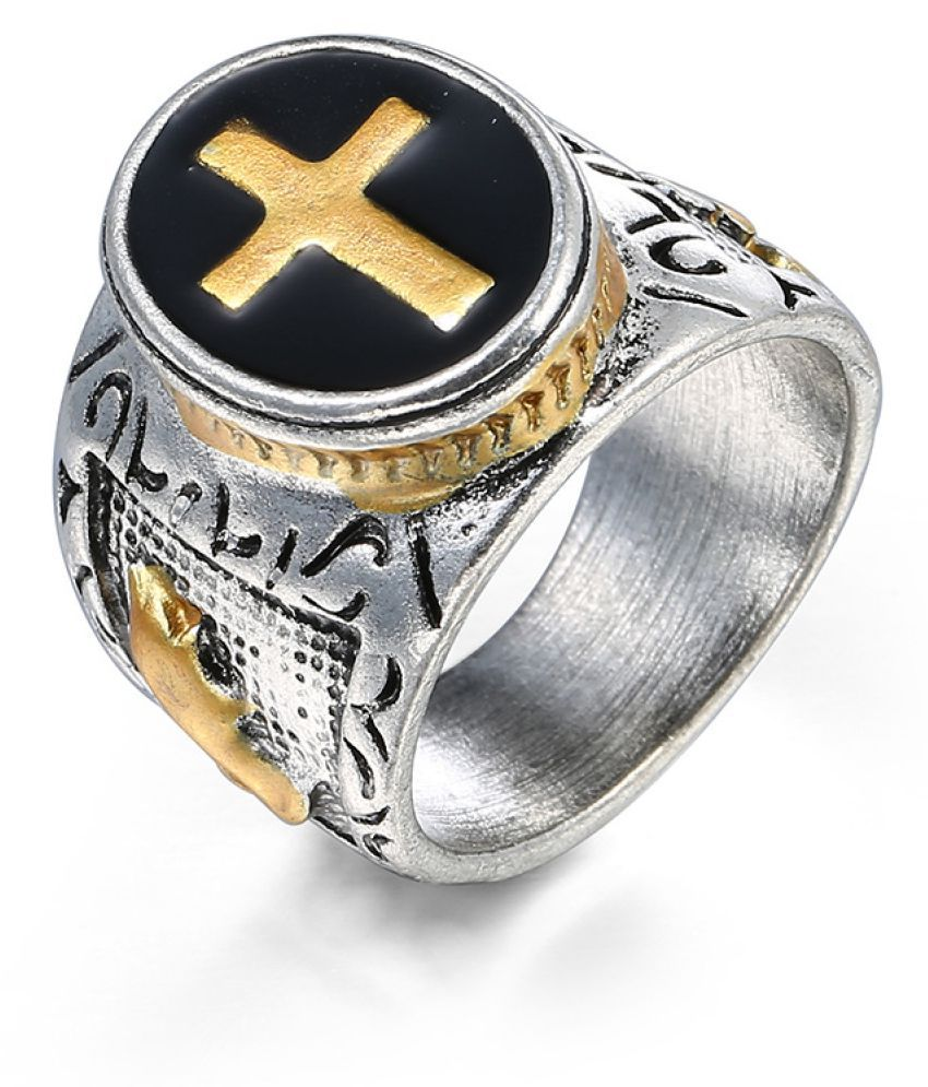 Ancient Cross Black Oil Two-Tone Golden Color Ring Fashion Jewellery