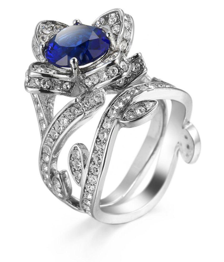 Blue Geometric Green Copper Ring Fashion Jewellery