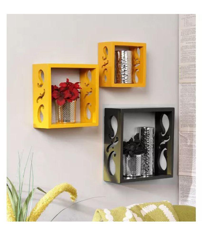 Onlineshoppee Square Nesting MDF Wall Shelf - Yellow & Black