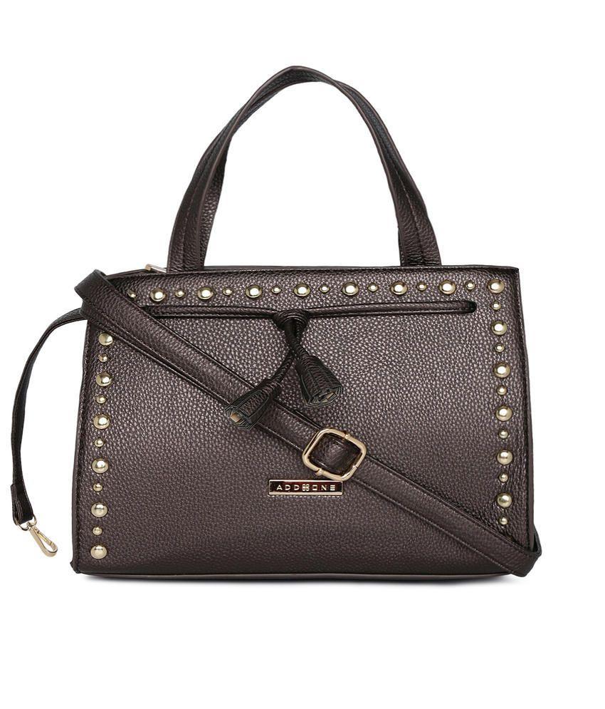 Addons Brown P.U. Satchel Bag