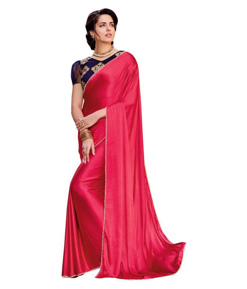 585ae31730 Shaily Retails Red,Pink Satin Saree - Buy Shaily Retails Red,Pink Satin  Saree Online at Low Price - Snapdeal.com
