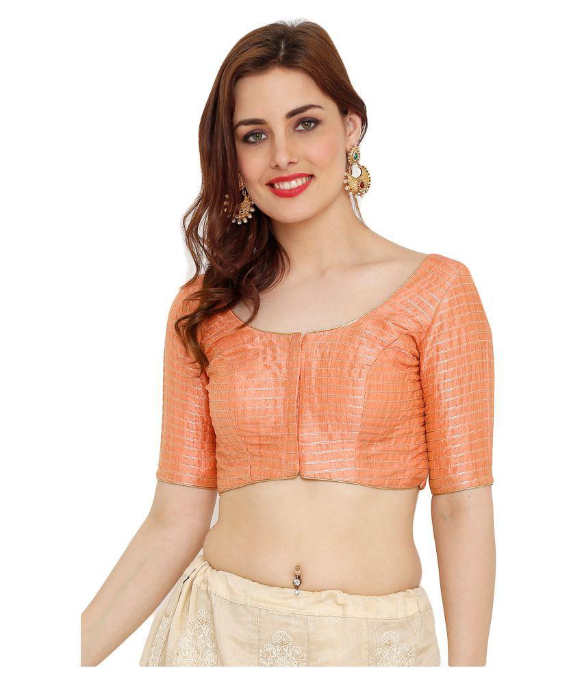 Salwar Studio Peach Silk Readymade with Pad Blouse