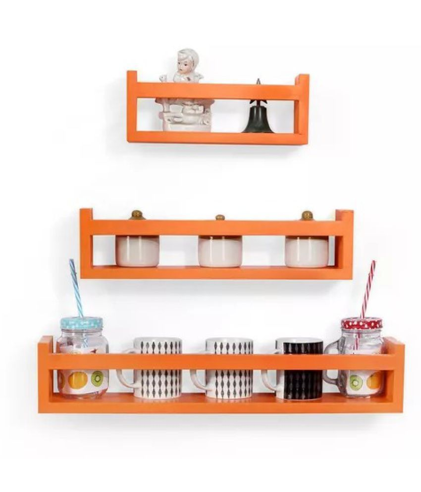 Onlineshoppee MDF Wall Decor Multipurpose Wall Shelf with 3 Shelves Colour - Orange)