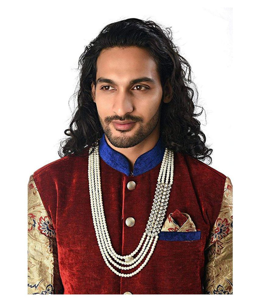 Catalyst Stylish Pearl Jewellery for Groom | Dulha Moti Mala Haar for Men +Free Necklace set of Rs.299