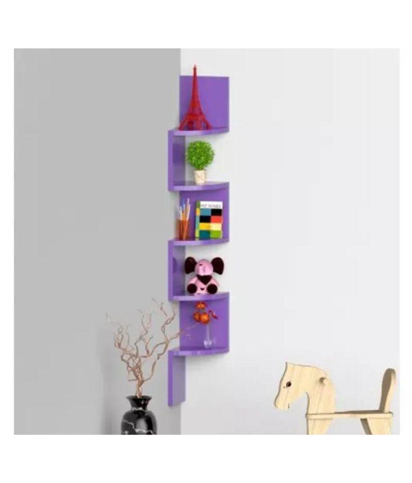 Onlineshoppee Wooden Fancy Zigzag Wall Mount Floating Corner Wall Shelf   Purple