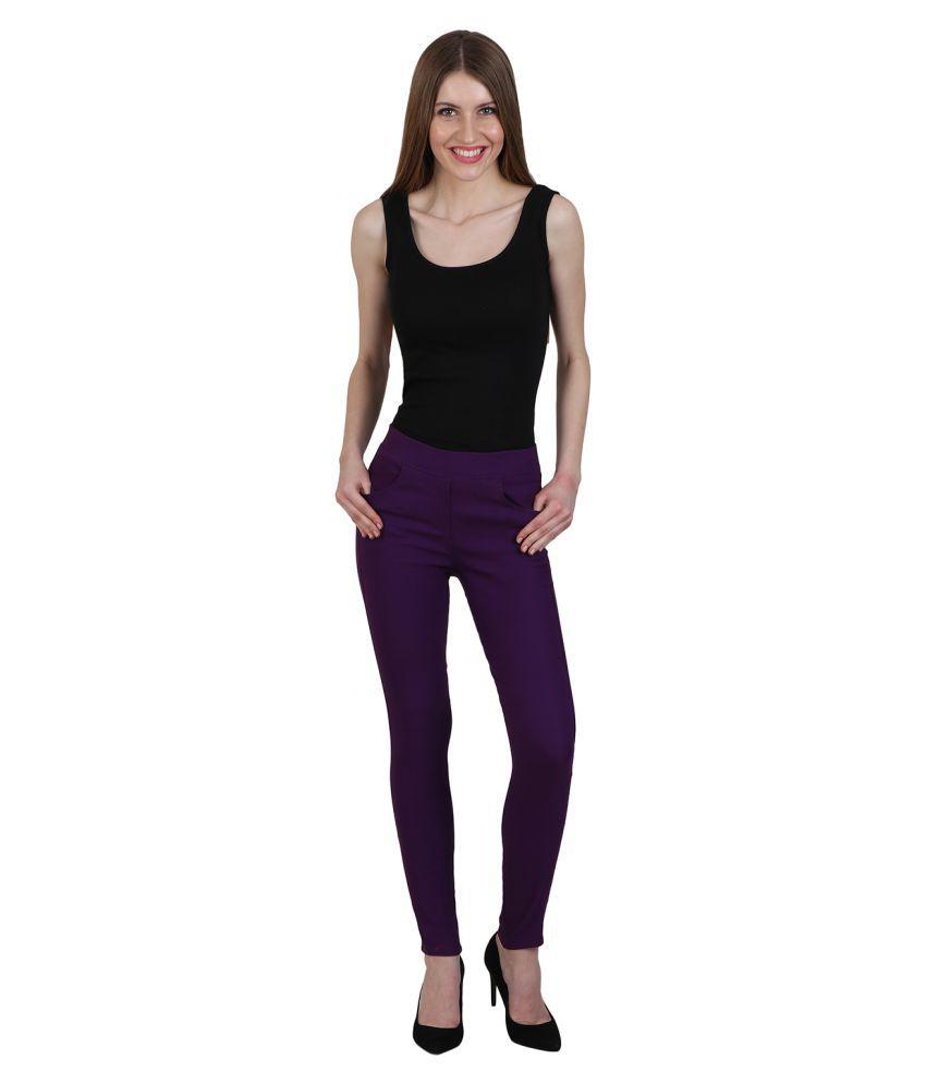 Nikvik Cotton Lycra Jeggings - Purple