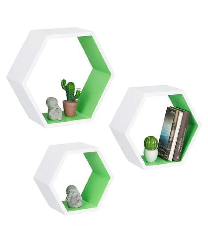 Onlineshoppee Hexagon Floating Wall Shelf Set of 3 ( Green-White )