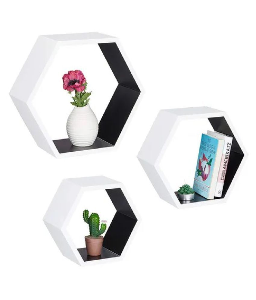 Onlineshoppee Hexagon Floating Wall Shelf Set of 3 ( White-Black )
