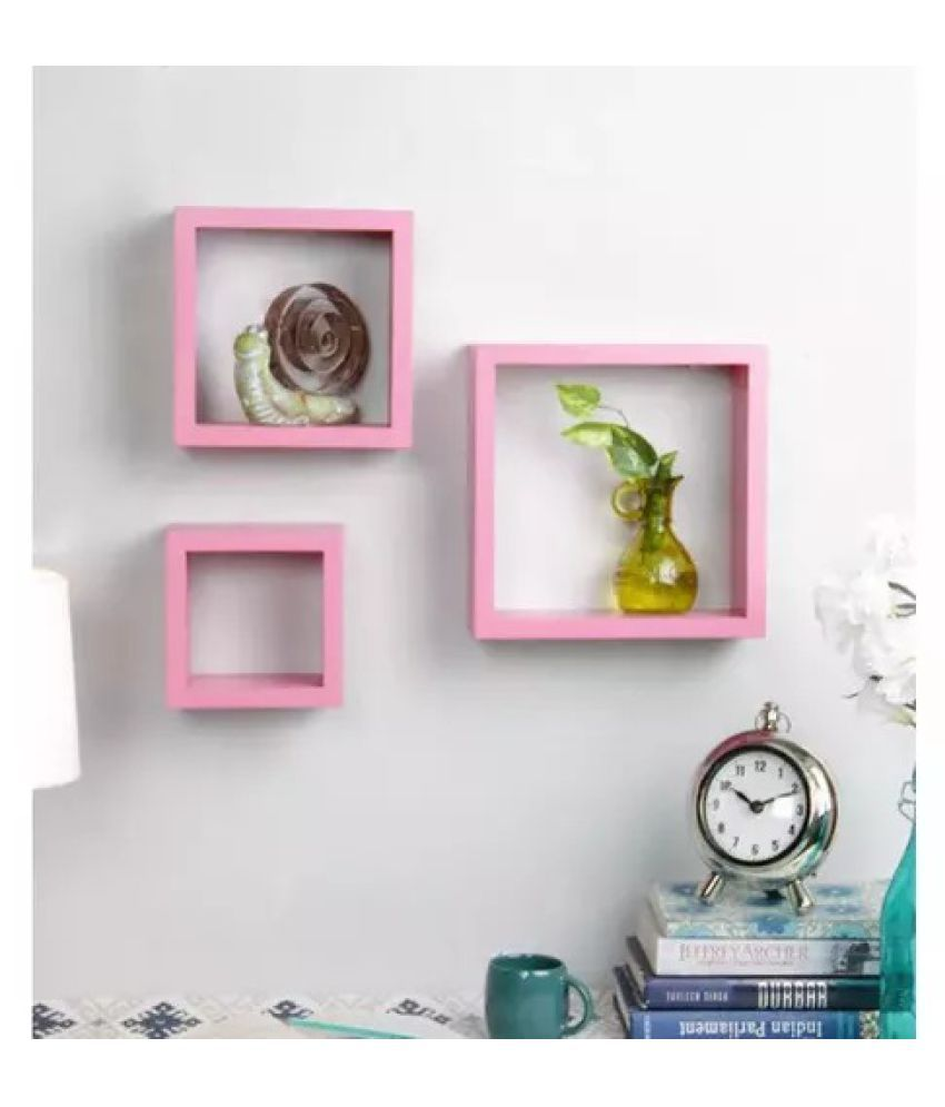 Onlineshoppee Square Nesting MDF Wall Shelf