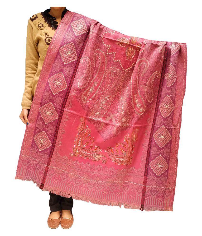 Kashmiri Shawl Peach Ari Embroidery Shawl