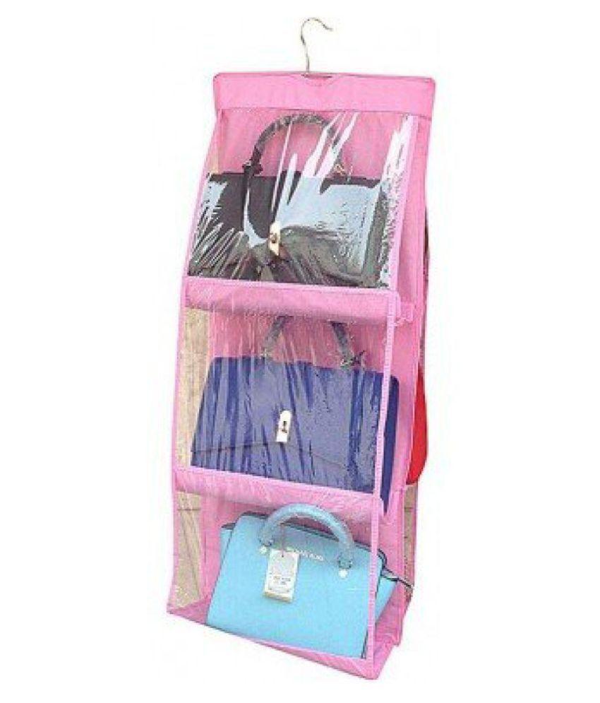 Everbuy 6 Pocket PVC Storage Bag Organizer Hanging Bags Closet Organizer Wardrobe Rack Hangers Holder for Fashion Handbag