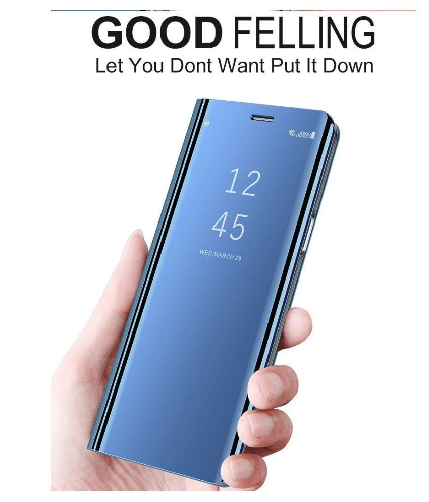 Nex S Flip Cover by ClickAway - Blue Kickstand Mirror Electroplate Smart View Cover