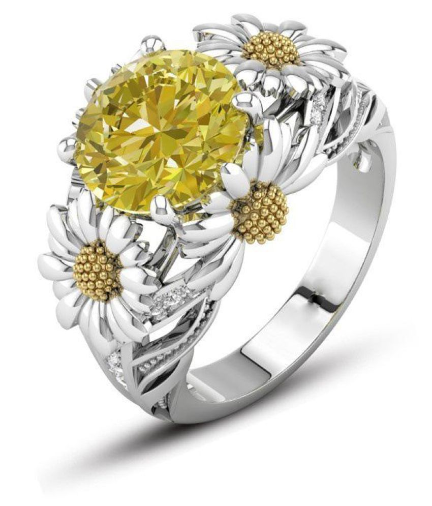 Elegant Zircon Inlaid Golden Color Daisy Hollow Silver Color Rings Topaz Zirconia Rings for Women Gift Fashion Jewellery