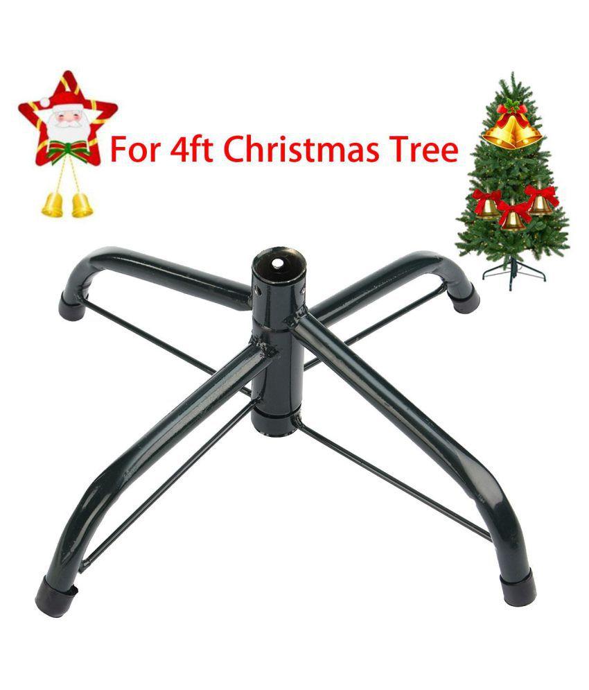 Artificial Christmas Tree Stand.4 Feet Artificial Christmas Tree Stand Green Holder Cast Iron Base Garden Decor