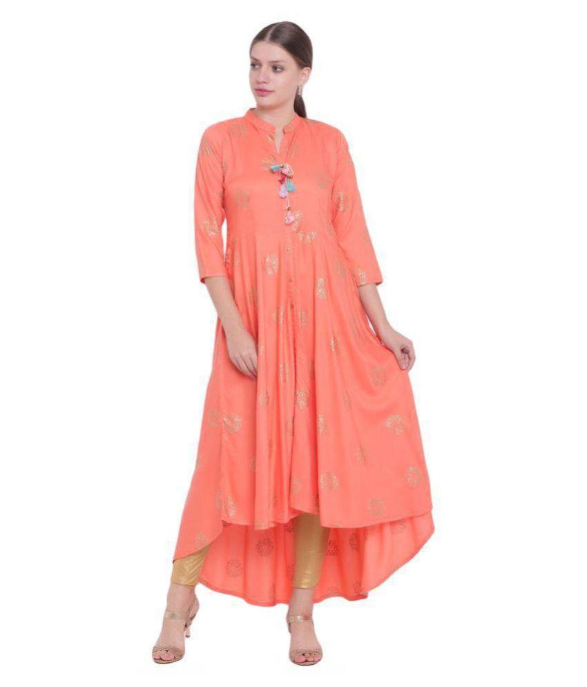 Voom Orange Rayon A-line Kurti