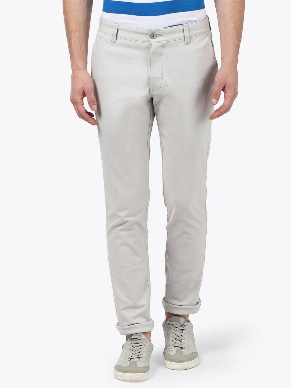 Parx Grey Slim -Fit Flat Trousers