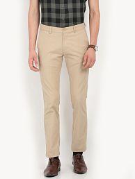 Indian Terrain Khaki Slim -Fit Flat Trousers