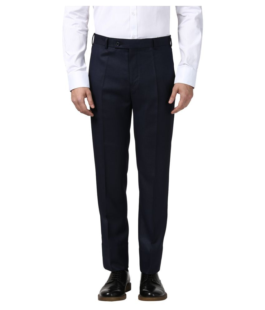 Next Look Blue Regular -Fit Flat Trousers