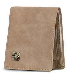 Wood Land Faux Leather Khaki Casual Short Wallet