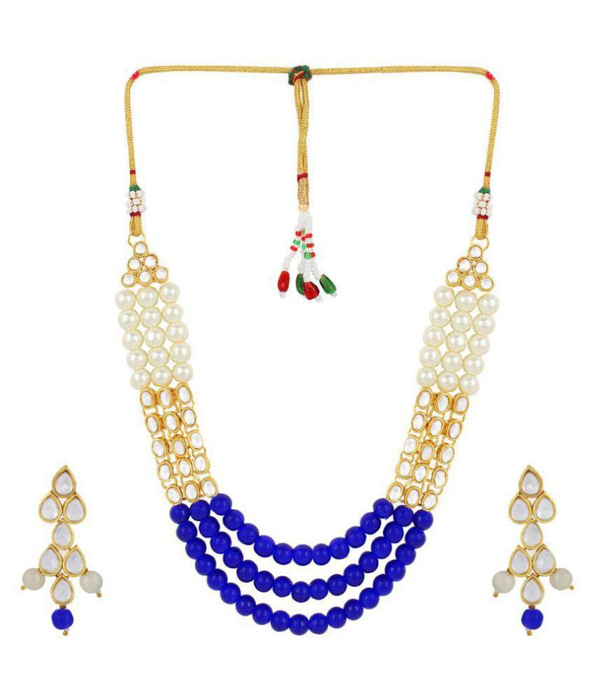 Catalyst Brass Blue Collar Traditional Gold Plated Necklaces Set +Free Necklace set of Rs.299