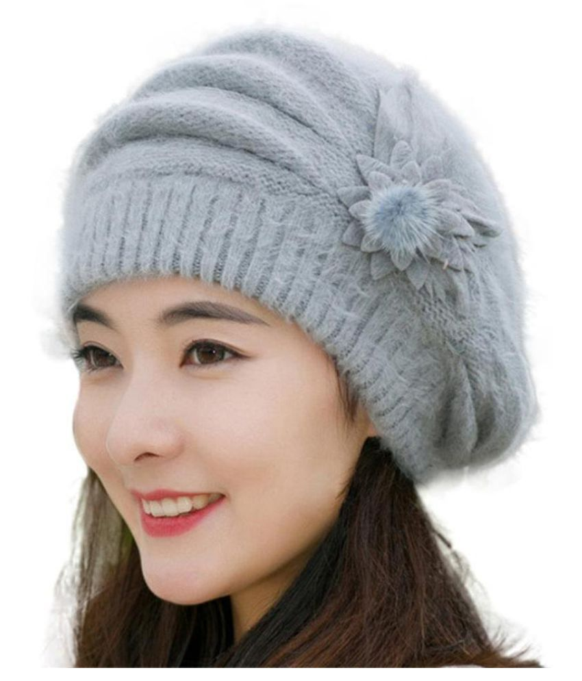 f7c1782888b Women Sweet Flower Solid Color Knit Crochet Baggy Beanie Hat Winter Warm Cap   Buy Online at Low Price in India - Snapdeal