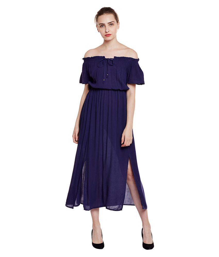 Oxolloxo Viscose Navy Regular Dress