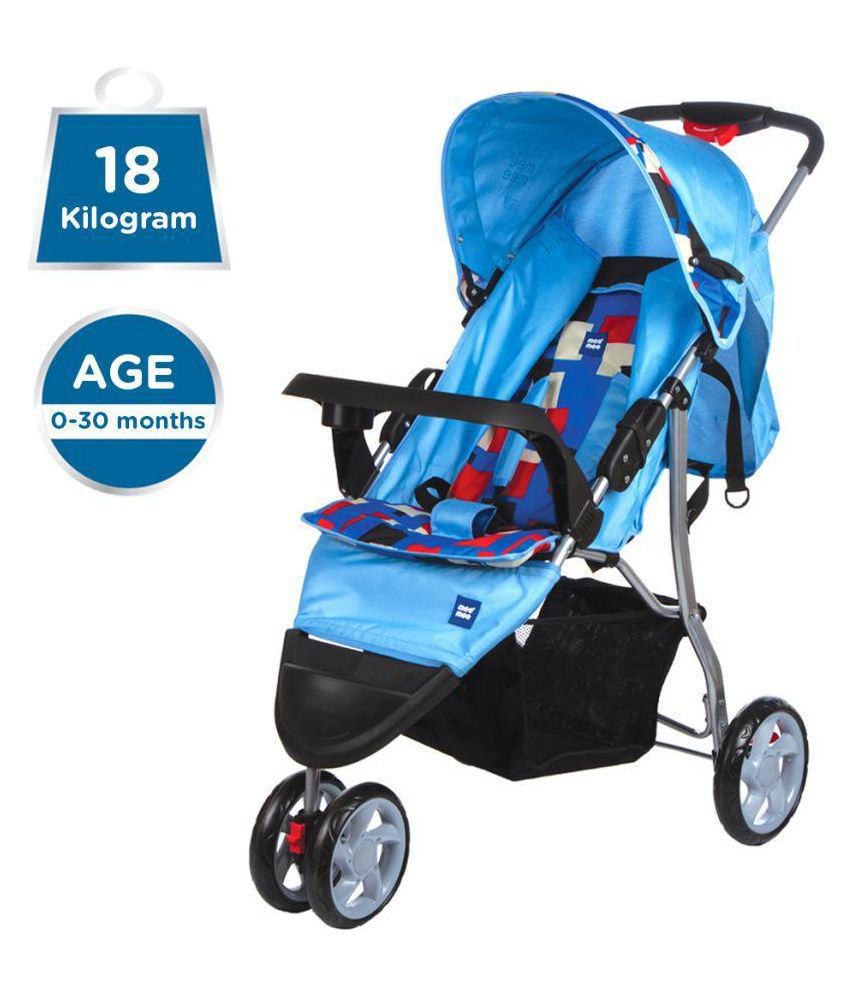 Easy to Push Baby Pram with Quick One-Hand Folding (Blue)