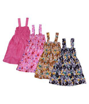 f030e92c2d5 KAYU Baby Girls Cotton Sleevless Printed Frock (Pack of 4)
