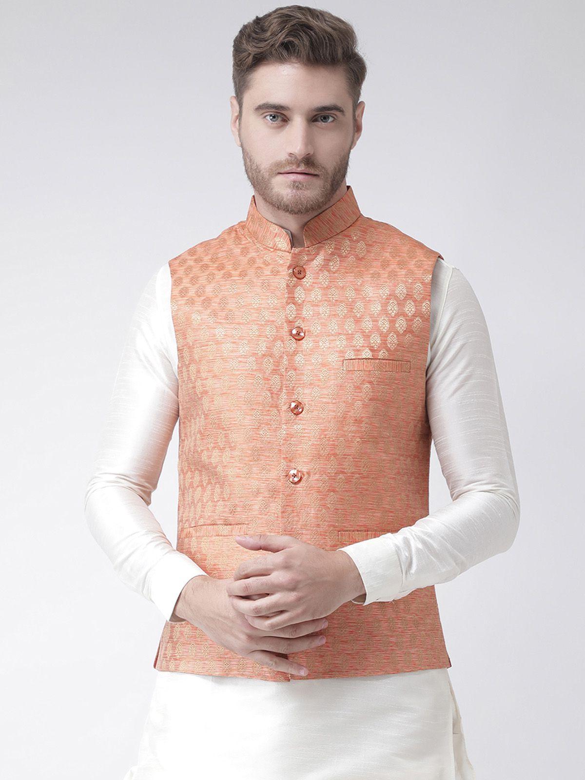 Deyann Orange Silk Nehru Jacket