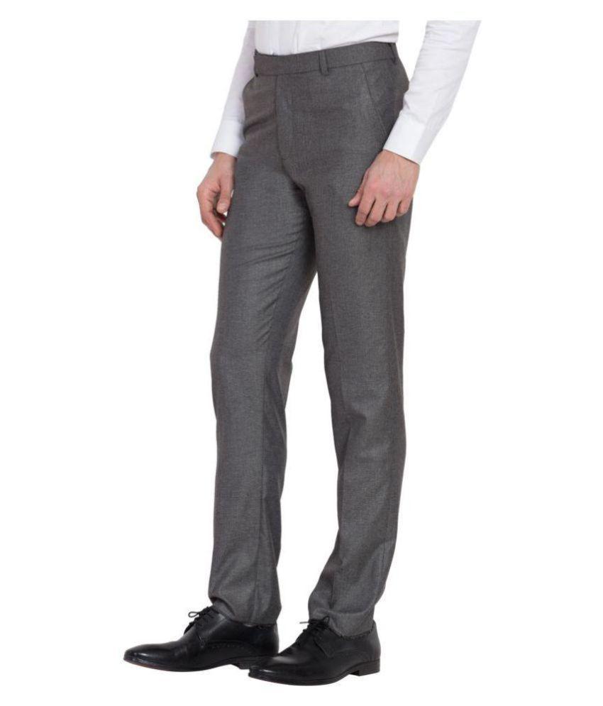 Haoser Grey Slim -Fit Flat Trousers