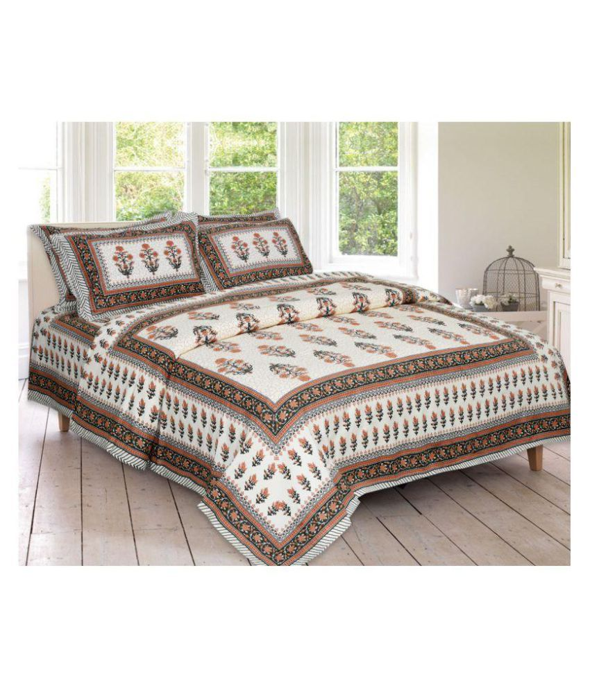 HomeTexBazar Cotton Double Bedsheet with 2 Pillow Covers