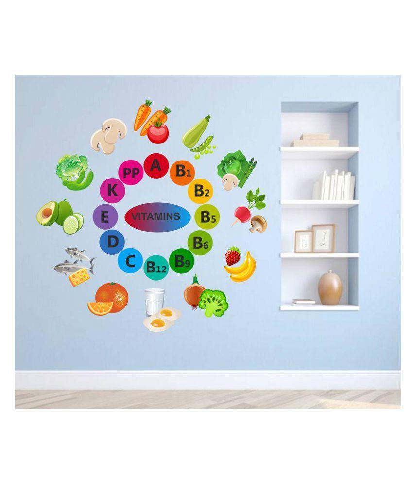 Wallzone Vitamins Foods & Beverages Sticker ( 75 x 75 cms )