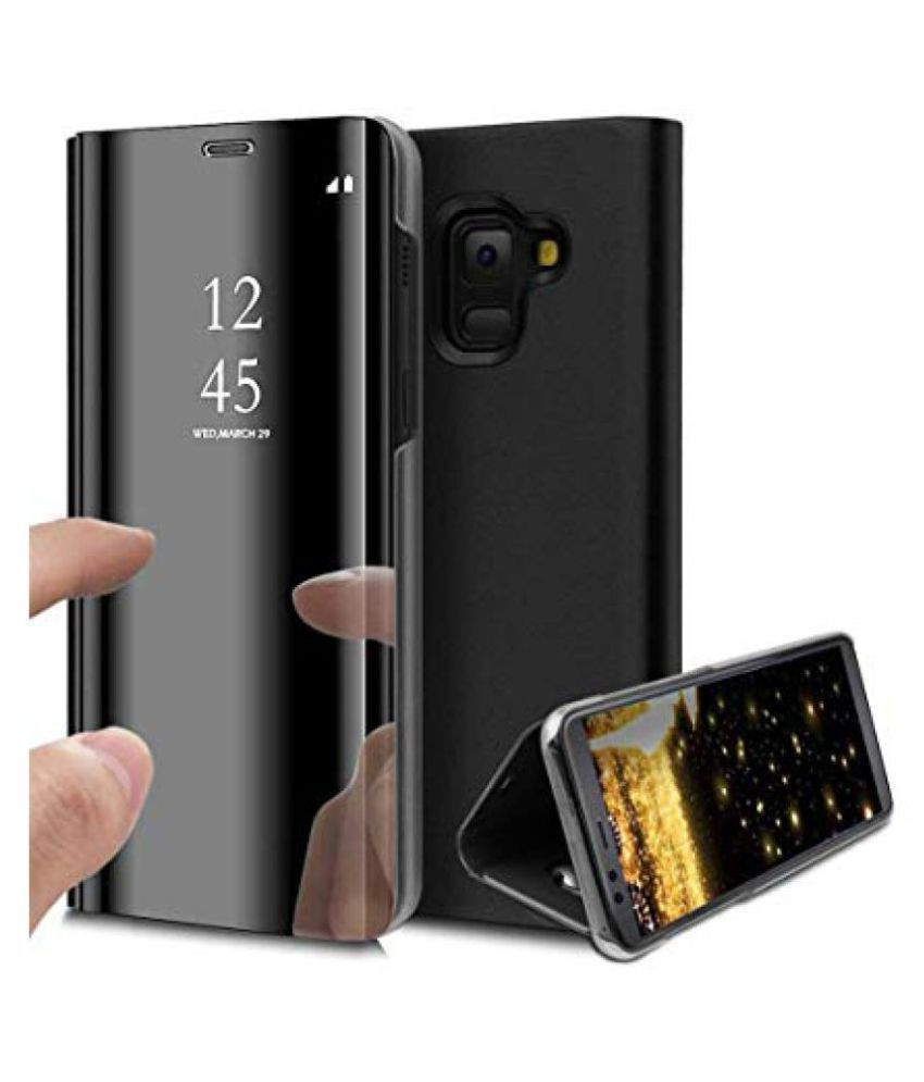 reputable site 1f0c3 780e8 Samsung Galaxy M30 Flip Cover by ClickAway - Black Clear View Mirror Flip  Cover With Media Stand