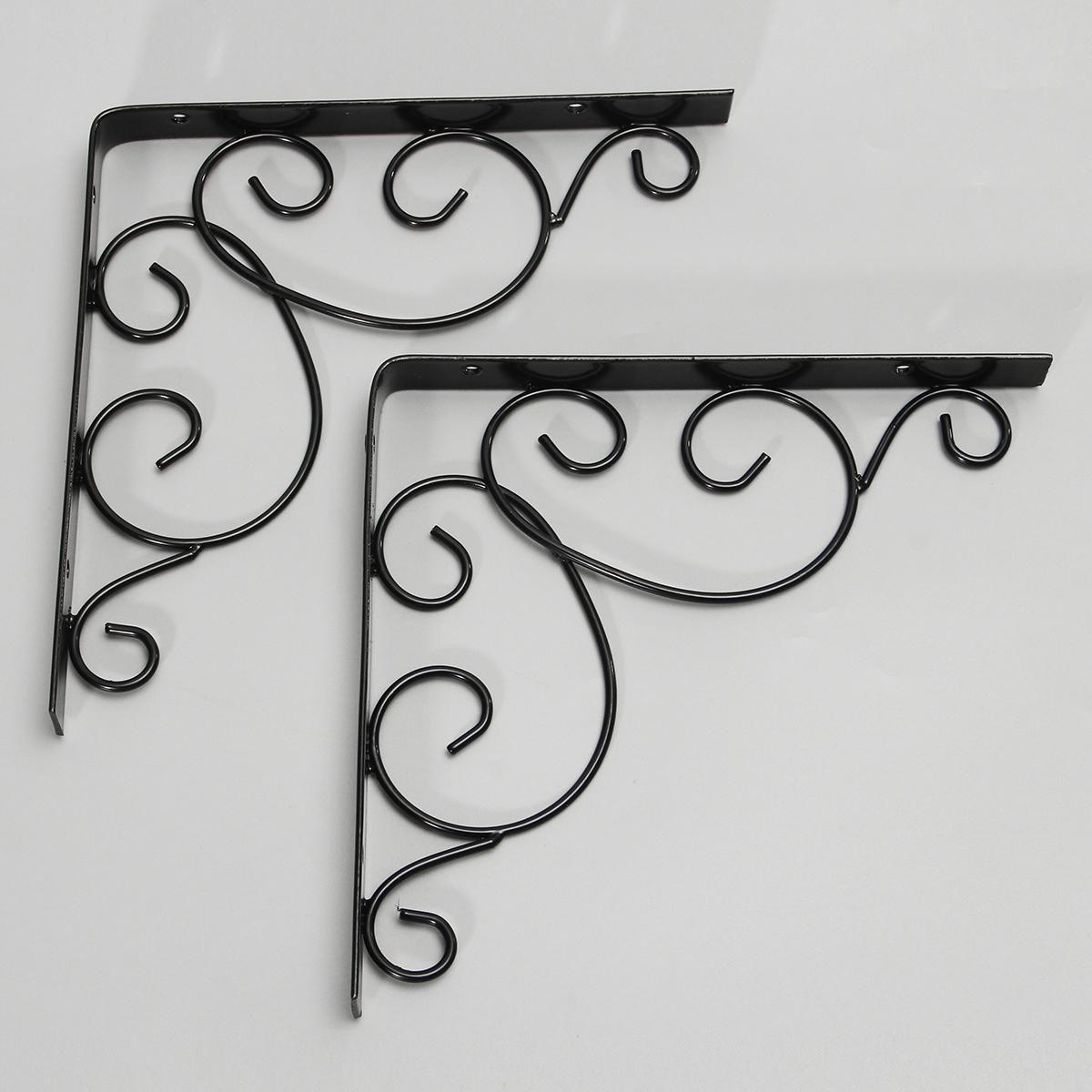 1 Pair Antique Floral Cast Iron Shelf Brackets Support Wall