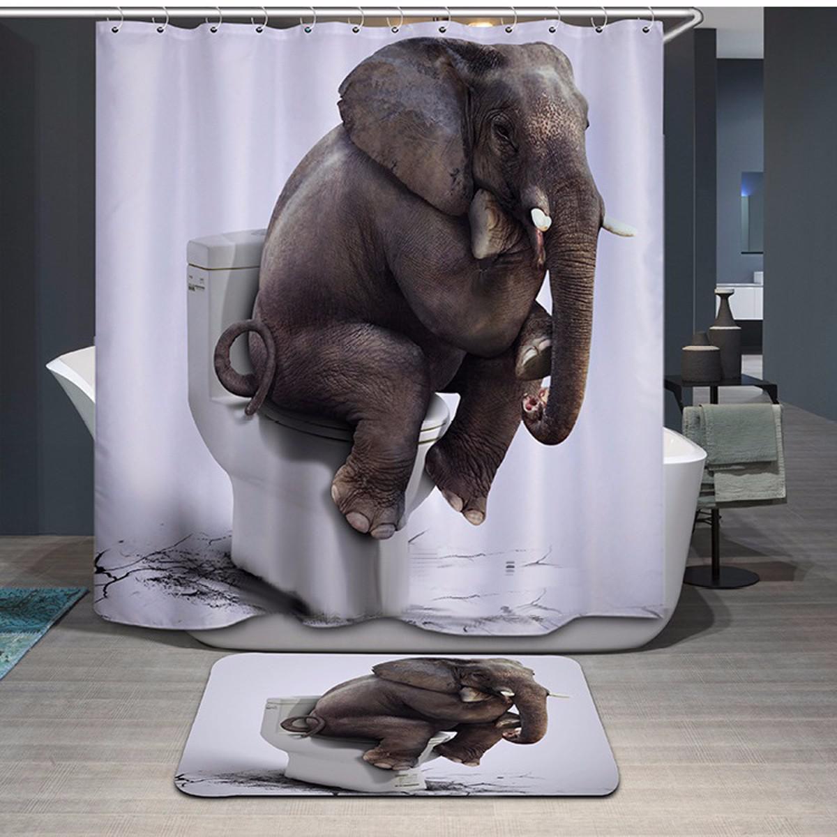 3d Elephant Shower Curtain Waterproof Fabric Bathroom Decor
