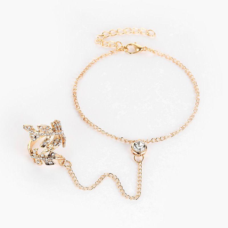 Diamond-Studded Openwork Leaf Ring Conjoined Bracelet Fashion Jewellery
