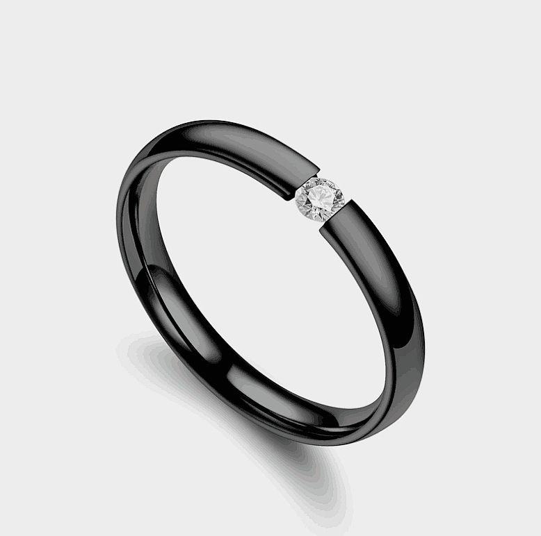 Black With Small Diamond Ring Fashion Jewellery