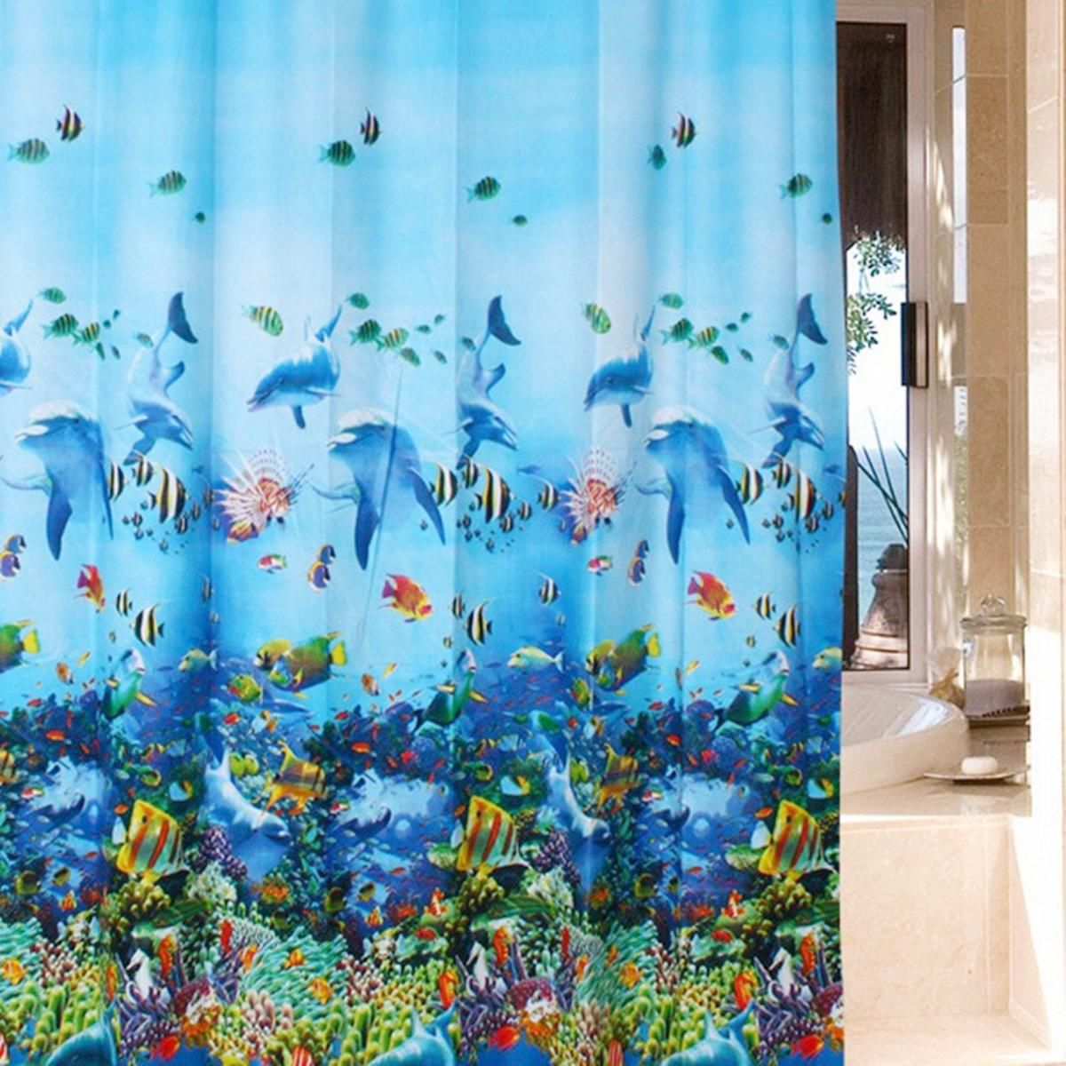Bathroom Waterproof Fabric Blue Ocean Dolphin Pattern Shower