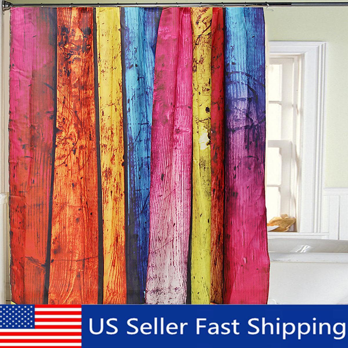 Rainbow Wood Waterproof Polyester Shower Curtain Bathroom
