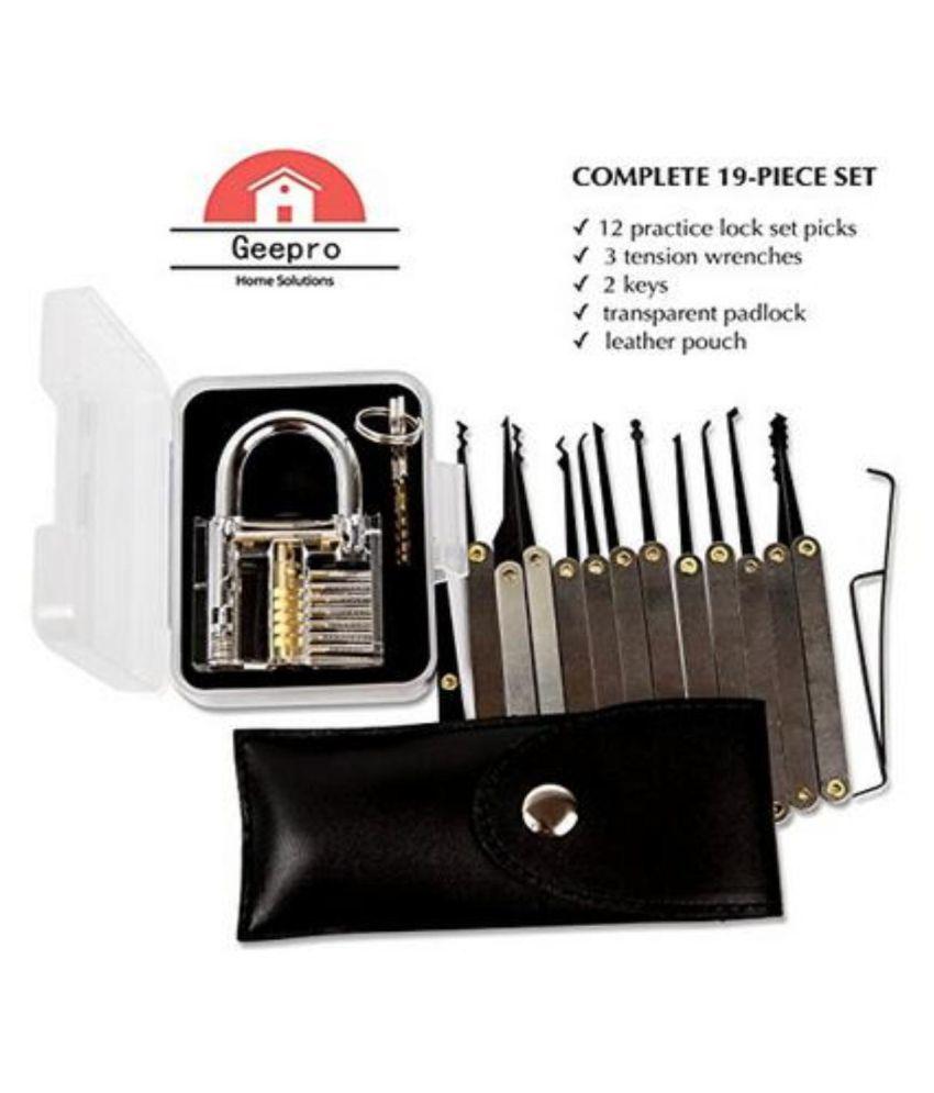 15-Piece Lock Pick Set,SGODDE Key Extractor Tool with Transparent Practice  Padlock,for Beginners with Transparent Padlock for Unlocking Practice